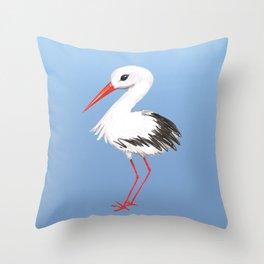 Cute stork watercolor painting Throw Pillow