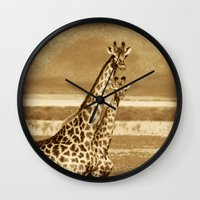 giraffes Wall Clocks featuring Giraffes by haroulita