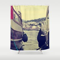 sailing Shower Curtains featuring sailing by gzm_guvenc