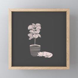 Cat and Plant Framed Mini Art Print