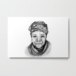 Maya Angelou - BW Original Sketch Metal Print