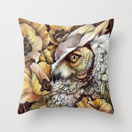 Owl among the Poppies Throw Pillow