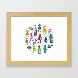 Robots in Space Framed Art Print