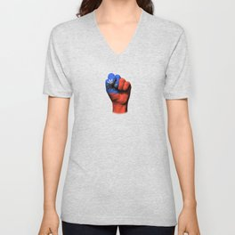 Taiwanese Flag on a Raised Clenched Fist Unisex V-Neck