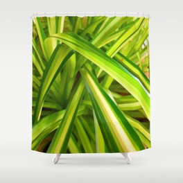 Spider Plant Leaves Shower Curtain