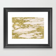 Marble - Gold Marble Glittery Light Pink and Yellow Gold Framed Art Print