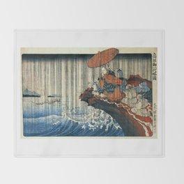 Ukiyo-e, Utagawa Kuniyoshi, Priest Nichiren praying under the storm Throw Blanket
