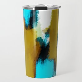 blue black and white painting texture with yellow background Travel Mug