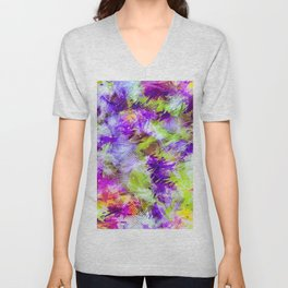 Potpourri in Purple and Lime Unisex V-Neck
