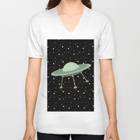 ufo V-neck T-shirts featuring UFO by Mr & Mrs Quirynen