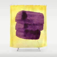 transparent Shower Curtains featuring transparent Yellow by seb mcnulty