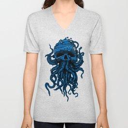 blue kraken skull Unisex V-Neck