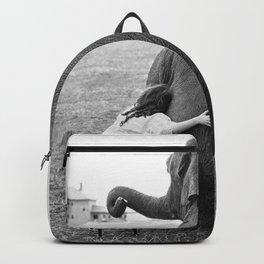 Odd Best Friends, Sweet Little Girl hugging elephant black and white photograph Backpack