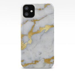 White and Gray Marble and Gold Metal foil Glitter Effect iPhone Case