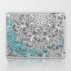 Turquoise & White Mandalas on Grey Laptop & iPad Skin