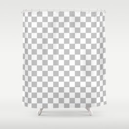 White and Gray Checkerboard Shower Curtain
