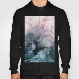 Blush and Payne's Grey Flowing Abstract Painting Hoody
