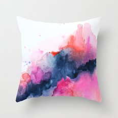 Abstract watercolor Orange Pink Throw Pillow