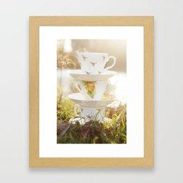 Three little teacups Framed Art Print