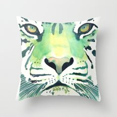 Green Tiger Throw Pillow