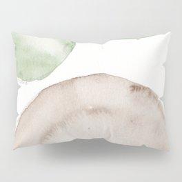 14|181104 Australian Leaf Green & Brown Earth Orbs | Watercolour Circle Abstract Geometrical Pillow Sham