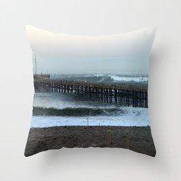 Ventua Ocean Wave Storm Pier Throw Pillow