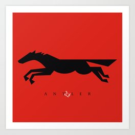 Graphic Horse Black on Red Art Print
