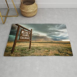 Colorful Colorado - Storm Advances Past Colorado State Line Sign Rug