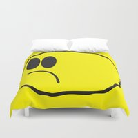 coldplay Duvet Covers featuring Lonely Meatball - Yellow by kiwimonk