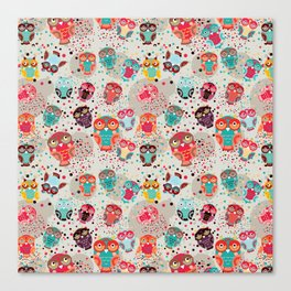 pattern with colorful owls on cream background Canvas Print