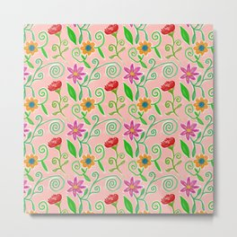 Lovely Colorful Floral Pattern Metal Print
