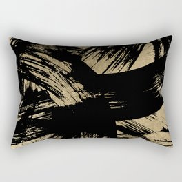 Elegant black faux gold modern brushstrokes pattern Rectangular Pillow