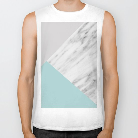 Ice Color Marble Collage Biker Tank