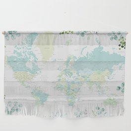 Mint and green floral world map with cities Wall Hanging