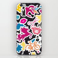 sticker iPhone & iPod Skins featuring Sticker Frenzy by XOOXOO