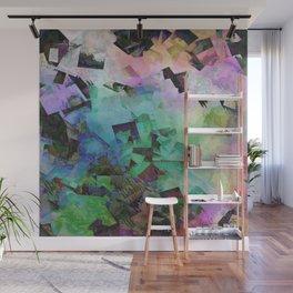 Colorful Geometric Free-fall Aqua Wall Mural
