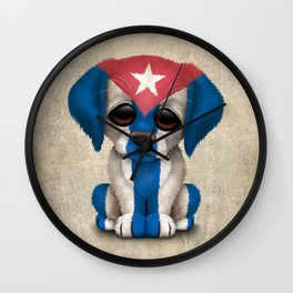 Cute Puppy Dog with flag of Cuba Wall Clock