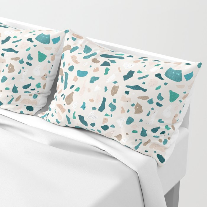 Terrazzo Turquoise Pattern Pillow Sham