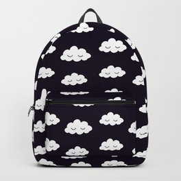 Sleeping cute clouds in black and white Backpack