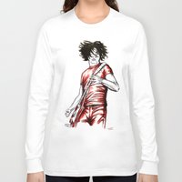 jack white Long Sleeve T-shirts featuring Jack White Red Watercolor by Tom Brodie-Browne