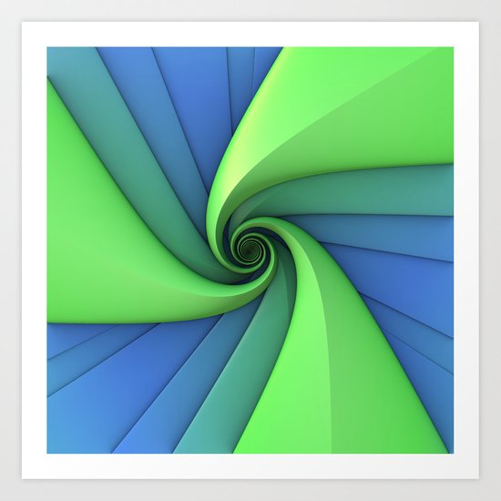 Spiral in Blues and Greens Art Print