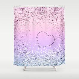 Sparkling UNICORN Girls Glitter Heart #1 #shiny #pastel #decor #art #society6 Shower Curtain