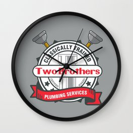 Two Brothers Plumbing Wall Clock
