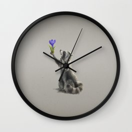 Raccoon with Flower (Spring is coming) Wall Clock