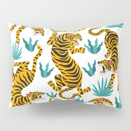 Tiger dance in the tropical forest hand drawn illustration Pillow Sham