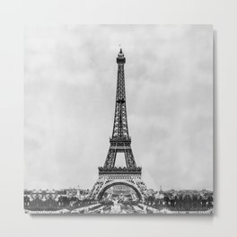 Eiffel tower, Paris France in black and white with painterly effect Metal Print