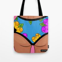 booty Tote Bags featuring Floral Booty  by Roshane Ingram