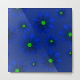 Blue Flowers Beautiful Pattern Metal Print