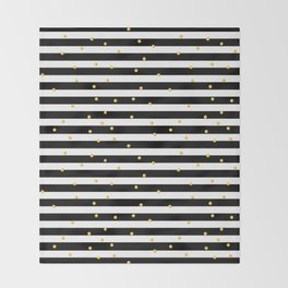 Modern black white gold polka dots striped pattern Throw Blanket