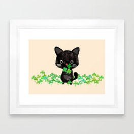 The Luckiest Cat Framed Art Print